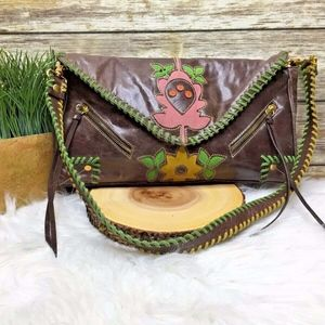 Loop Brown Leather Multi Floral Accent Boho Bag